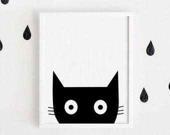 Black & white nursery poster bebe INSTANT DOWNLOAD printable art Cute animal illustration Kawaii baby room art Cat print Digital file