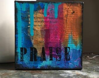 Praise 5x5 Mixed Media Original Mini Canvas