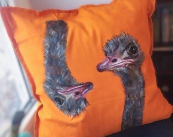 Pillow cover bird ostrich
