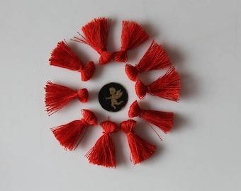 10 charms 25 mm red tassels - fringe - jewelry - bracelet - handmade - Christmas