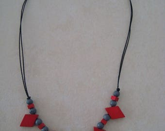 Red and grey wood beads necklace