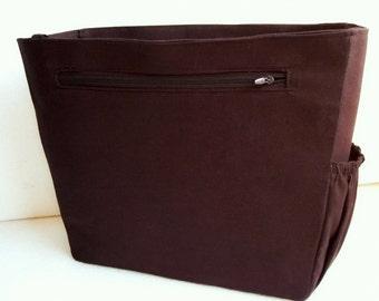 Medium Bag organizer / Purse organizer in Coffee Brown fabric- Inverted trapezoid shape