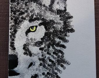 Pointillism Wolf Painting