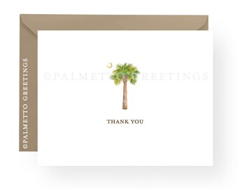PRINTED - Set of 8 Folded South Carolina Palmetto Tree and Moon, Watercolor Palm Tree and Moon Thank You Cards, Beach and Coastal Notecards