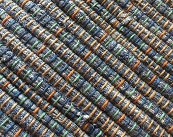 "Hand Woven Rag Rug - Blue Cotton 26"" x 40"""
