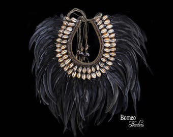 Dramatic Drape Black Feather Necklace,Statement Burlesque Show Neck Collar Handwoven Bib Necklace,Patterned Brown Shells,Wood Beads