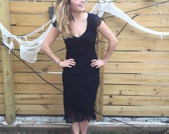 Vintage Betsey Johnson Bias Cut Black Dress