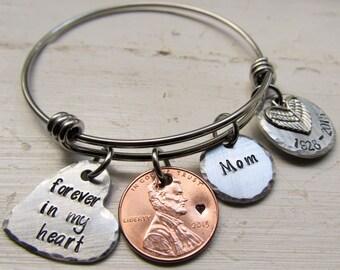 Pennies From Heaven, Memorial Bracelet, Expandable Bracelet Personalized, Dangle, Loss of Loved One, Jewelry, Mom Bracelet Mother Keepsake