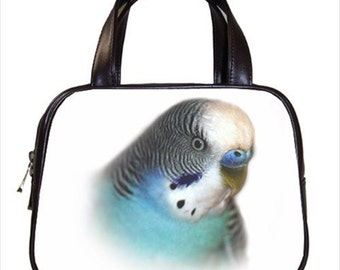Chic Blue Budgie Bird 2-Sided Parrot Handbag Purse Ladies Bag Leather