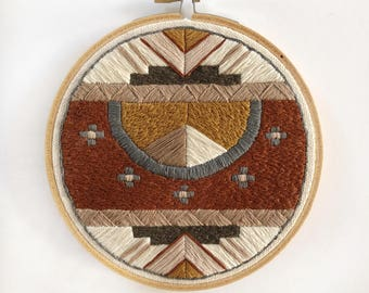 Rust, Mustard + Blush Pyramid Southwest Motif, Hand-Stitched Embroidery Hoop
