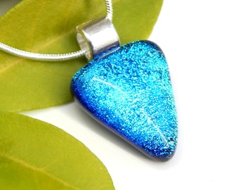 Petite Sky Blue Dichroic Glass Pendant, Fused Glass Jewellery, Turquoise Art Glass Small Triangular Necklace, Teenager Gift
