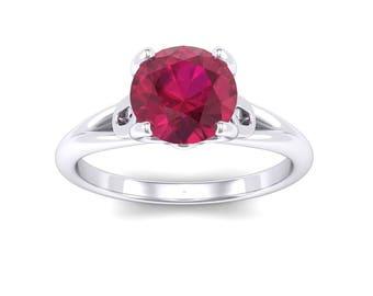 Curl Split Shank Solitaire Ruby Engagement Ring, Wedding Ring, Gift for her, Ring for her, Curl Split Shank Solitaire, Ruby Ring