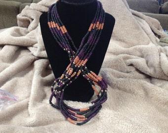 Vintage Black, Purple, Goldtone, and Brown Beaded Necklace, 40'' Long