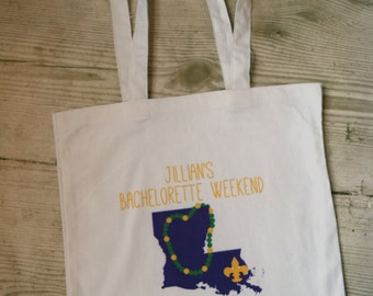 New Orleans Bachelorette Party Totes - Personalized Bachelorette Favors, Mardi Gras Bachelorette Party