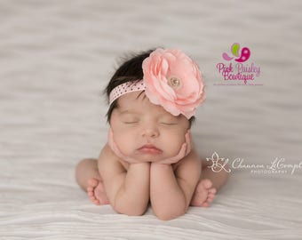 Baby headbands - Baby girl headband - Newborn Photography prop - Baby Hair Accessories - Pink baby hair bows - Infant headbands - Baby Bows