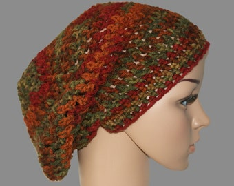Womens Slouch Hat, Mens Slouchy Beanie, Crochet Sock Cap, Knit Winter hat, Dread Cap, Slouch Cap, Rasta Hat, Winter Fashion