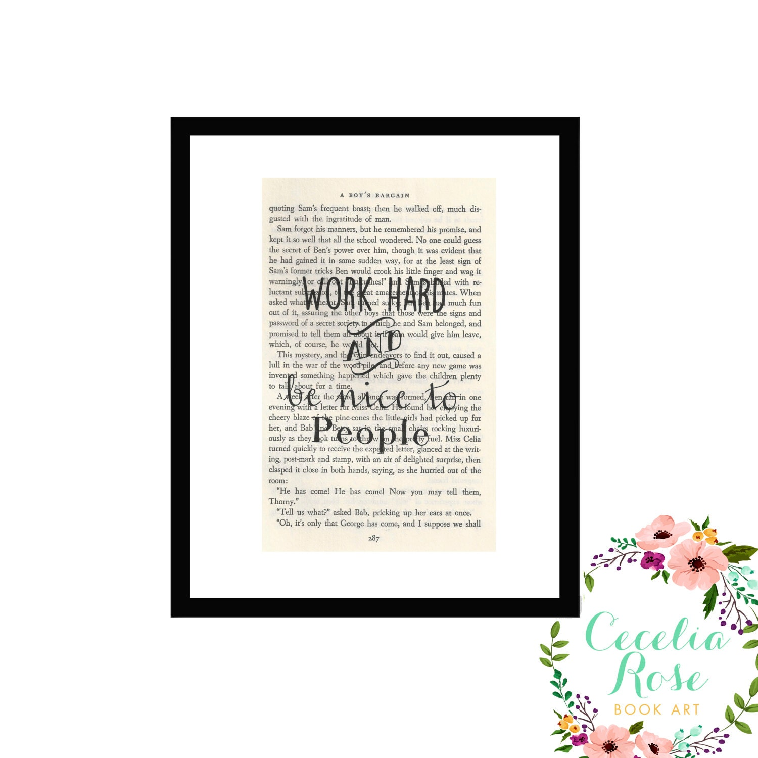 Work Hard and Be Nice To People Inspirational Quote Vintage Book ...