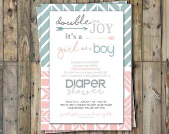 Diaper Shower Invitation - Twins - Boy & Girl- Personalized
