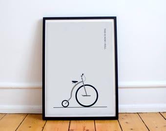 Pennyfarthing Bike Print - 'This is how I roll' - Digital Art Illustrated in the UK