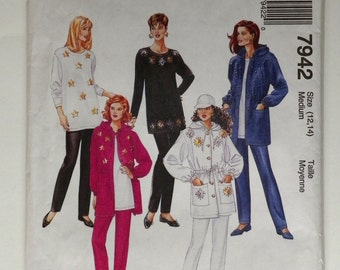 Misses Sewing Pattern Hooded Jacket Tunic & Pants Uncut Sizes 12-14 Bust 36 McCall's 7942 1990's Vintage Sportswear