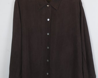 Vintage silk shirt, 90s clothing, dark brown, shirt 90s, long sleeves, oversized