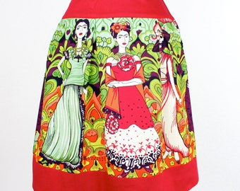 Red Frida Mexican Vintage Inspired Retro Skirt