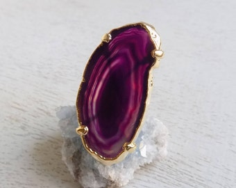 Agate Ring, Purple Agate Slice Ring, Slice Agate Ring, Geode Crystal Ring, Large Gemstone Ring, Gold Adjustable Ring, Statement Ring, 10-418