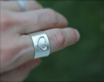 Silver Band. Gold Heart Ring. sterling silver Cigar band. Minimalist. birthday gift. Cigar band. Wide ring. Heart.