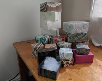 """LOT of Origami Jewelry-size/gift boxes (filled with soft """"polyfill"""")"""