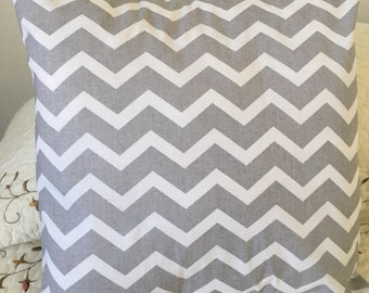 Grey and White Chevron Pillow Cover - Swappillow Covers - Gift - Envelope Closure - Decorative Pillow Cover - 16x16 - Throw Pillow