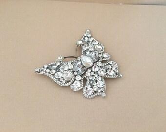 Large Butterfly Brooch.Butterfly Brooch.Crystal Butterfly Brooch.Butterfly Pin.Bridal Brooch pin.Silver.Large Butterfly Broach.Rhinestone