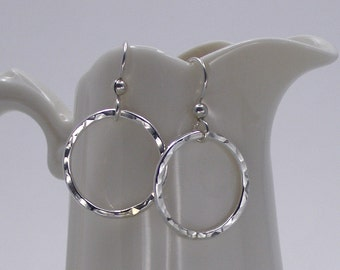 Sterling Silver Circle Hoop Earrings