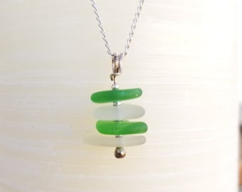 Authentic green and clear sea glass stacked necklace