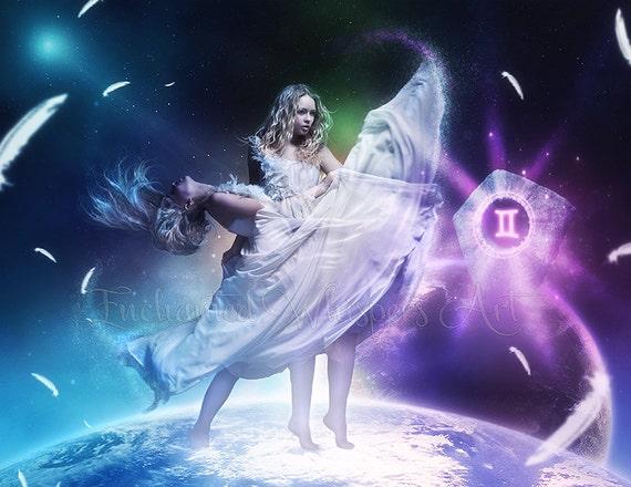 Gemini fantasy Zodiac art print by Enchanted Whispers