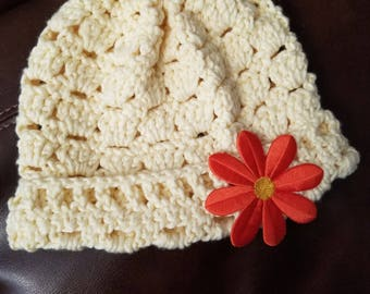 Yellow Little Girl's Hat with bright Orange Flower