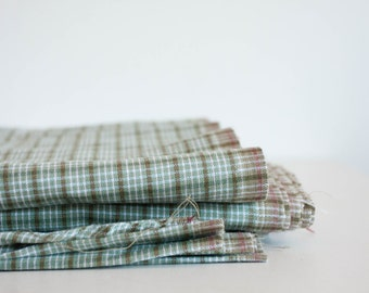 By the Yard Fabric, Vintage Lightweight Cotton Fabric, Sage Green and White, Rustic Supplies, DIY