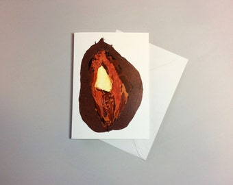 Vegetable Print. Sweet Potato. Blank Greetings Card. Food Illustration. Food Lover Gift idea.