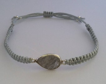 Faceted Pear Shaped Clear Rutilated Quartz Gem Bezel Adjustable Handmade Macrame Bracelet