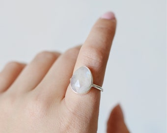 Moonstone Ring • Sterling Silver 925 • Faceted Rose Cut Oval