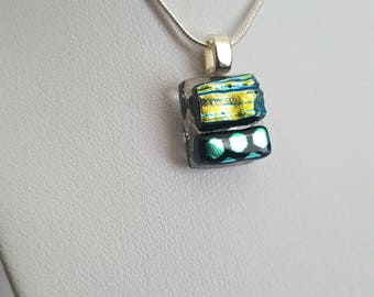 Tiny Pendant Necklace,Fused Glass,Dichroic Glass Jewellery,Small Pendant,Handcrafted Pendant,Tiny Necklace,Silver Necklace Chain