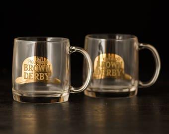 Vintage Hollywood Brown Derby, tasses en verre-lot de 2