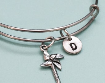 Pinwheel bangle, pinwheel bracelet, pinwheel charm, personalized bracelet, expandable bangle, charm bangle, initial, monogram