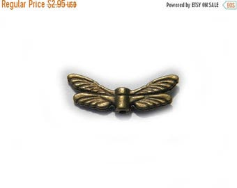HALF PRICE 6 Bronze Dragonfly Wing Bead  - Insect Fairy Double Wings