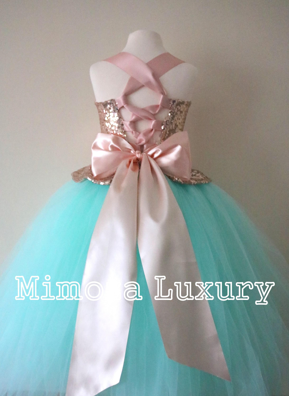 Mint & Rose Gold Flower Girl Dress mint bridesmaid dress