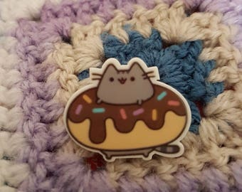 Cute Pusheen Donut brooch/ pin badge