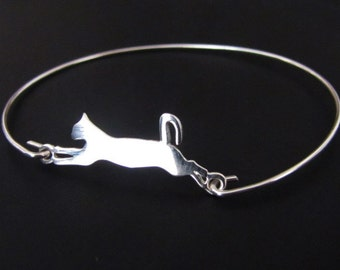 Cat Bangle Bracelet,  Cat Bracelet, Sterling Silver, Jewelry, Friendship Bracelet, Gift