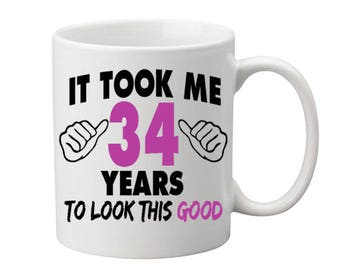 34 Years Old Birthday Mug Happy Birthday Gift Birthday Coffee Mug Coffee Cup Born in 1983 Personalized Mug ALL AGES AVAILABLE
