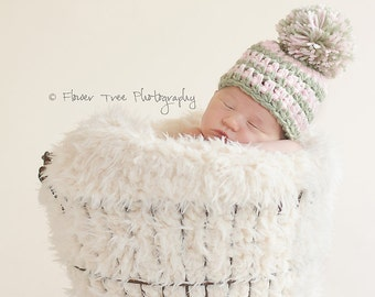 Newborn Pom Pom Hat, Infant Hat, Newborn Photo Prop, Pink And Green Hat, Newborn Girl Hat, Crochet Baby Hat, Newborn Girl Photo Prop