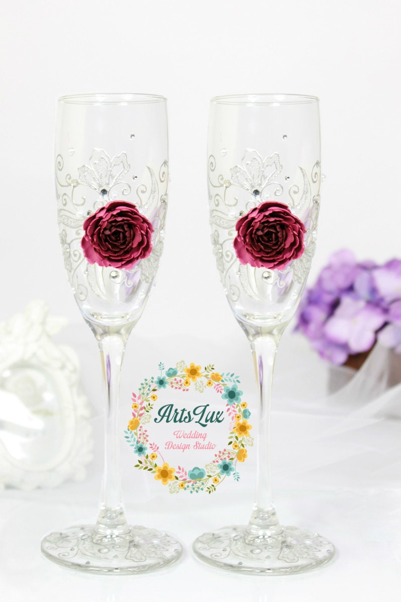 Marsala Wedding champagne glasses-Hand painted Wedding