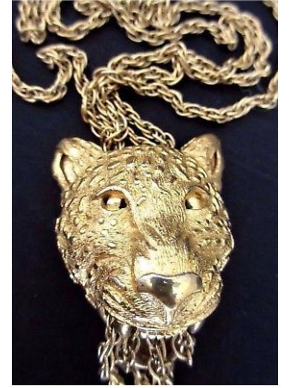 Super Sexy Rare Crown TRIFARI Couture Exotic Golden Panther Wild Cat Jungle Runway Statement Necklace